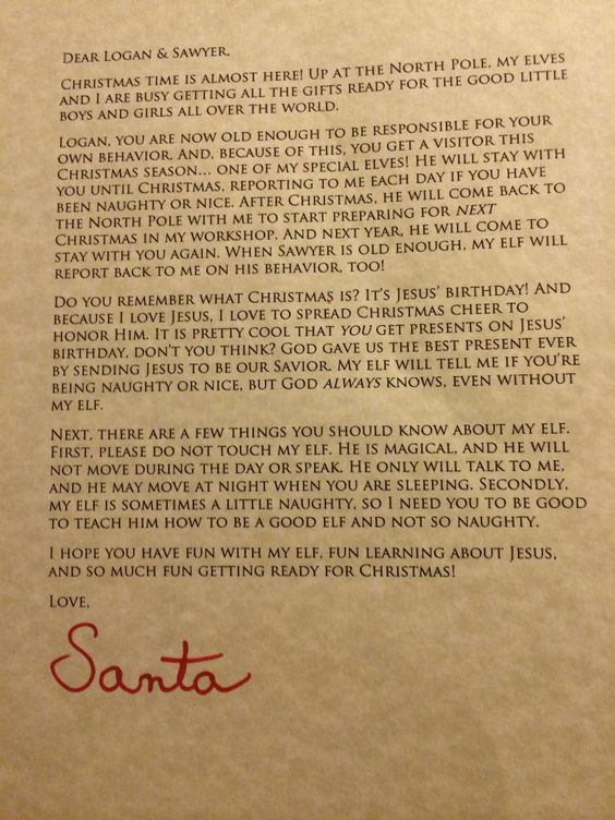 letter from santa introducing elf on the shelf reminds kids of