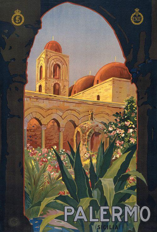 Palermo (Sicilia). Italian vintage travel poster, circa 1920. Ente NaZionale per le Industrie Turistiche.
