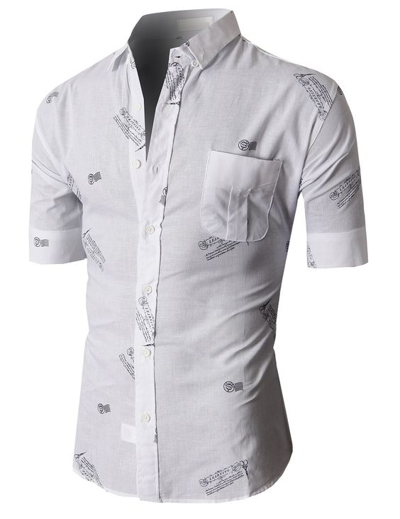 Doublju Casual Button-down Shirts Short Sleeve (KMTSTS022) #doublju