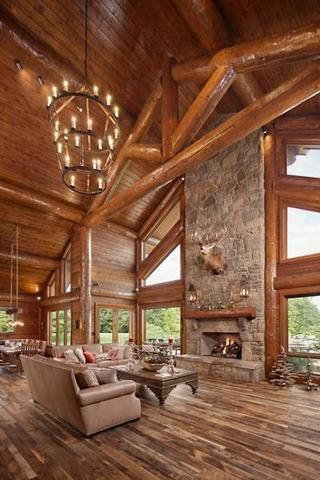 Splendid Choices To Build Your Dream Log Cabins In The Woods Or Next To A Lake A Must Have To Escape From Log Home Interior Log Home Interiors Home Fireplace