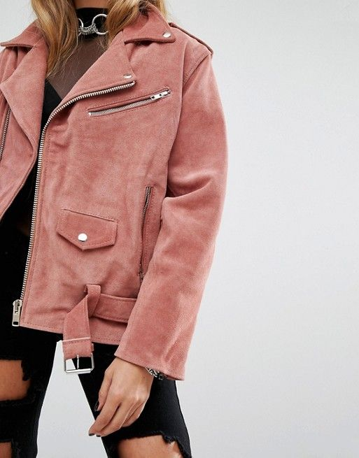 What a pretty pink suede oversized perfecto jacket, perfect with high rise jeans and black boots