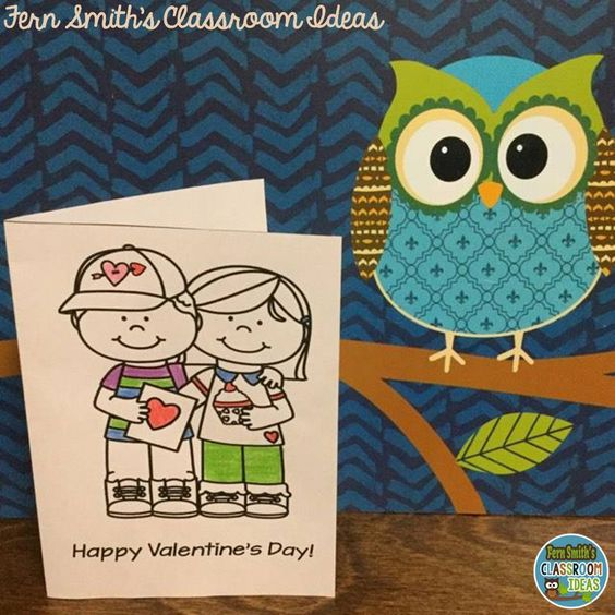 Thirty Coloring Pages for Valentine's Day Fun At School!  Including this cute card with teacher / student directions. #FernSmithsClassroomIdeas Coloring Pages | Coloring Book | Valentine's Day | Color For Fun