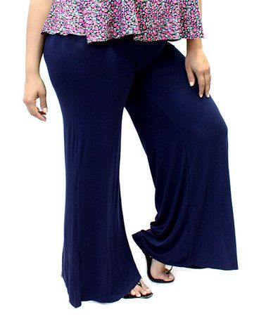 Navy Blue Comfy-Chic Palazzo Pants #zulily #zulilyfinds