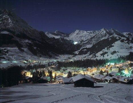 Night falling on Adelboden is beautiful as the snow is dotted in the distance with warm glows #JSHotCold #Jetsetter jetsetter.com