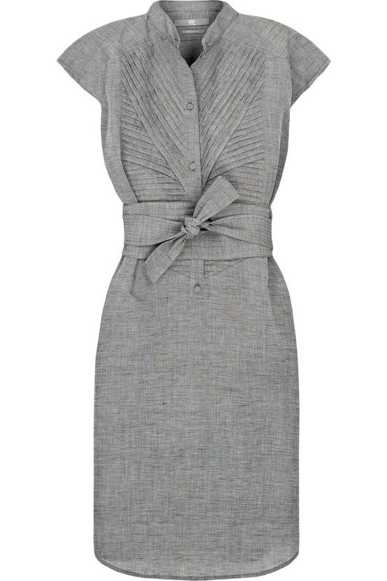 Perfect!  Flattering for smalls pear and inverted triangle body shapes.  Elegant gray and below the knee length are elegant and the pleats and tie are creative or femme.   professionalism