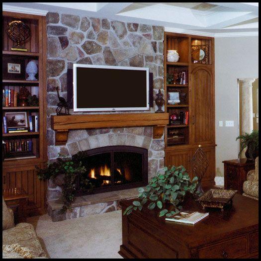 Fieldstone Fireplace With Cast Iron Firebox Rough Sawn Mantel