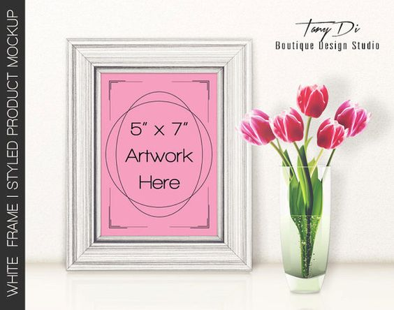 5x7 Portrait White Wooden Frame on Table & Tulips, Wall Art Display Mockup, PNG PSD, Minimal style, Styled Images, vintage style