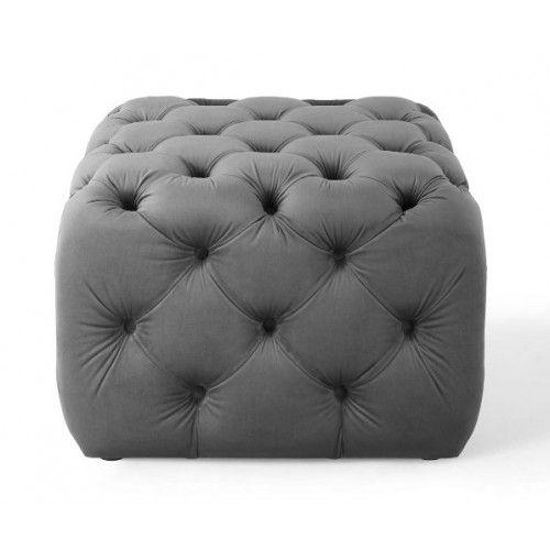 Silver Grey Velvet Totally Tufted Square Ottoman Footstool Ottoman Footstool Square Ottoman Ottoman