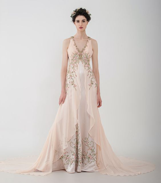 """Anny Lin Bridal """"Zinnia"""" silk chiffon with multi-color crystals on handcrafted embroidery. :"""