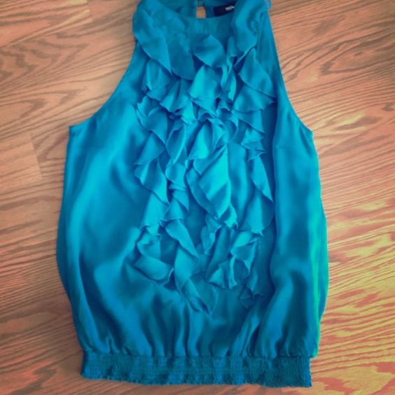 Pretty ruffle tank Chiffon fabric and excellent condition. Under Victoria's Secret pink for visibility * PINK Victoria's Secret Tops Tank Tops