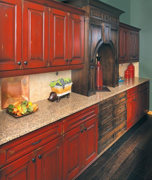 Kitchen Cabinets Red rustic painted kitchen cabinets - google search | kitchen ideas