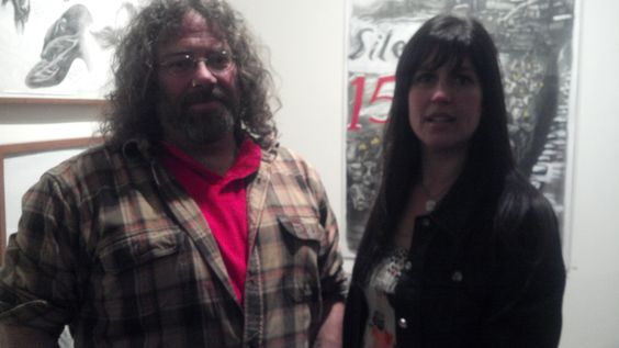 "Micheal and I at Galerie St. Etienne for the opening of the art from Sue Coe's book ""Cruel"""