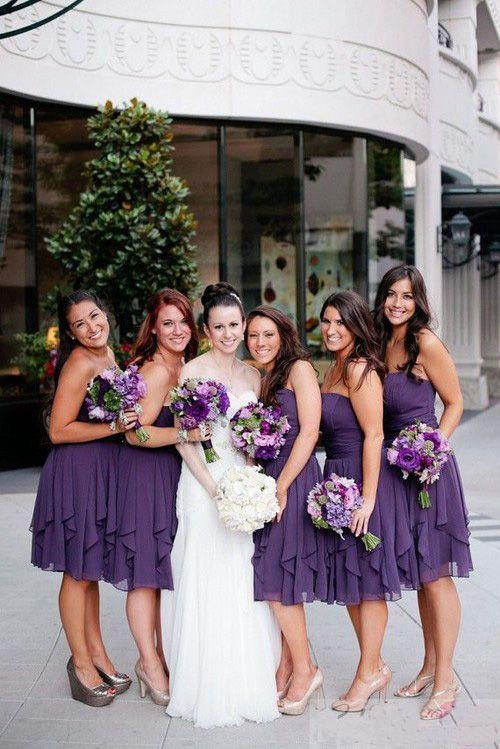 Short Bridesmaid Dress Purple Bridesmaid Dress Strapless
