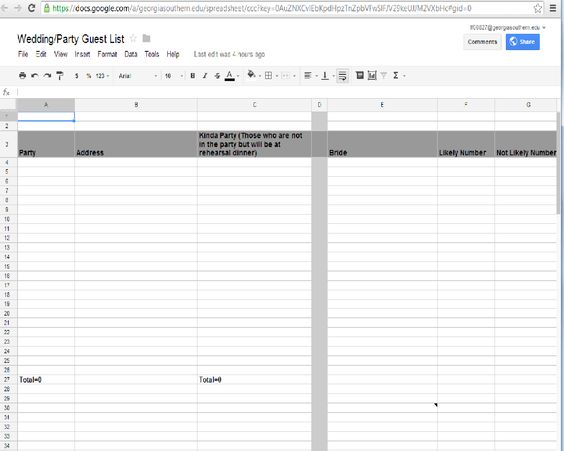 Use Google Docs to keep you Wedding Guest list organized Mine has - party guest list