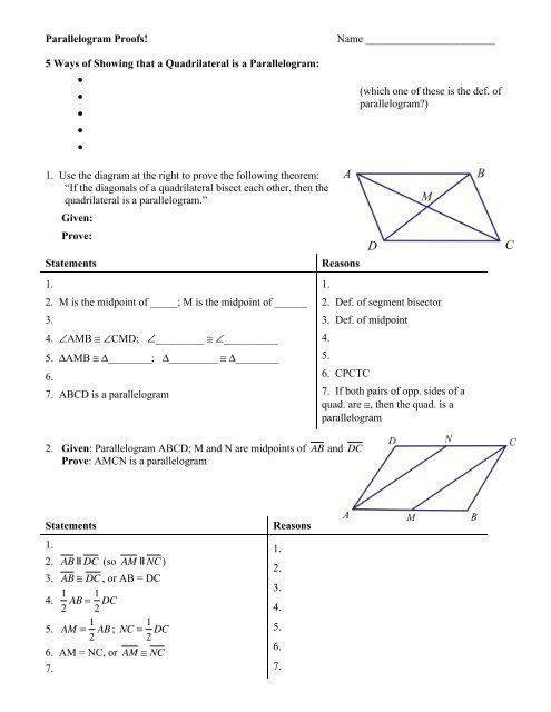 Geometric Proofs Worksheet With Answers Parallelogram Proofs Worksheet With Answers In 2020 Geometry Proofs Geometry Worksheets Scientific Notation Practice