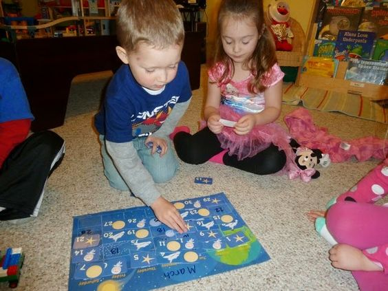 Let children have free play with last months Mother Goose Time Calendar.  They can play with the pattern and put the numbers in order.