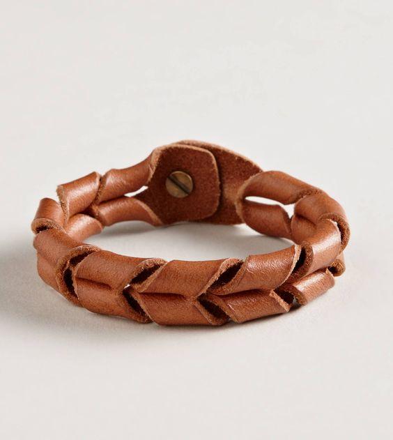 Leather bracelet-flipped onto itself...MXS                                                                                                                                                     More