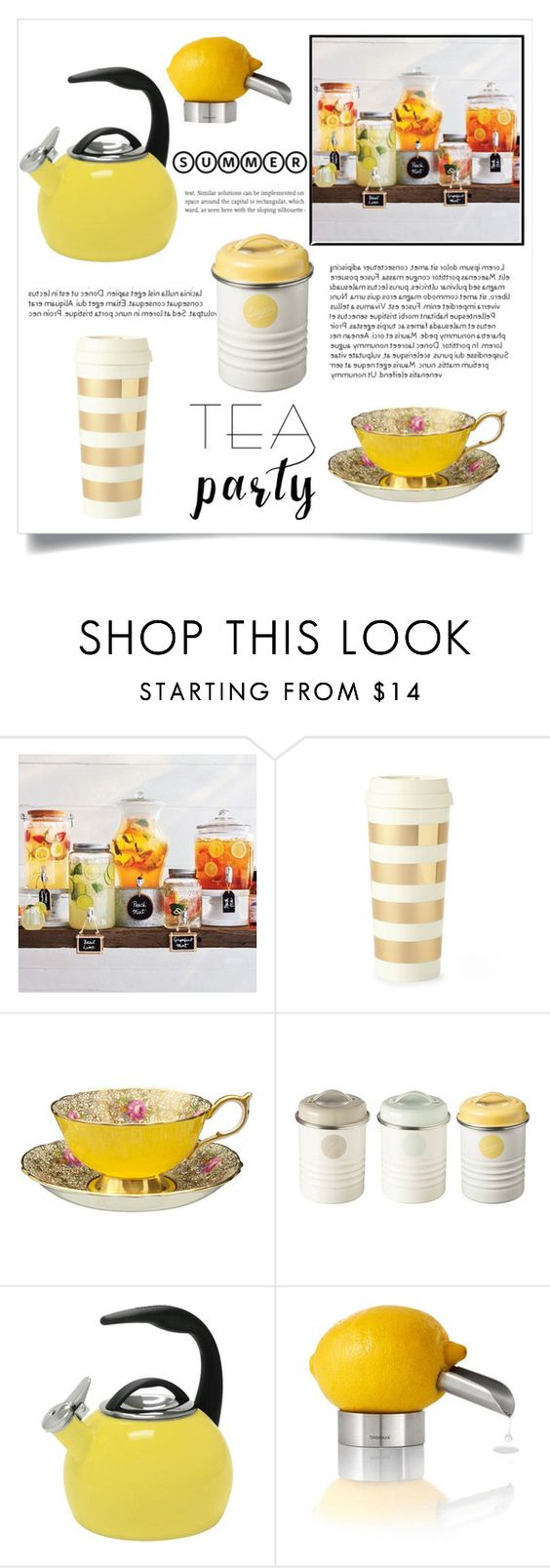 """""""#YellowTeaParty"""" by jaylynn-281 ❤ liked on Polyvore featuring interior, interiors, interior design, home, home decor, interior decorating, Sur La Table, Kate Spade, Typhoon and Chantal"""