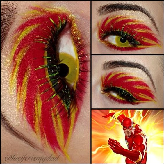 """So bad ass! Luciferismydad created this wicked """"Flash, the Scarlet Speedster"""" look using Sugarpill Love+ eyeshadow. Absolutely love her attention to detail - the glitter, yellow waterline, and lashes! Just overall perfectly executed!"""