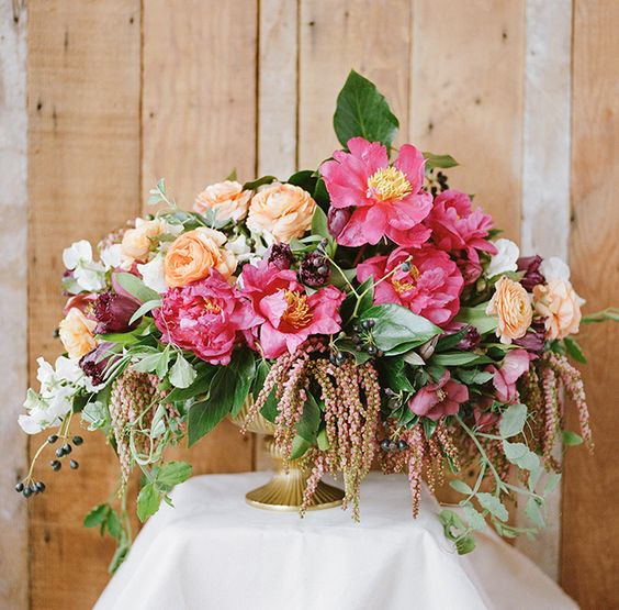 Vibrant winter florals with twig twine christina