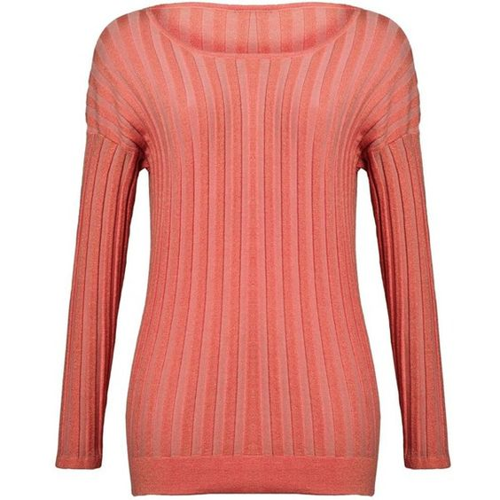 Aftershock Jazmin rib detail top (€70) ❤ liked on Polyvore featuring tops, sweaters, coral, women, long sleeve jumper, long sleeve tops, red jumper, long sweaters and fitted tops