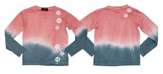 絞染長袖Tシャツ「桃花色」