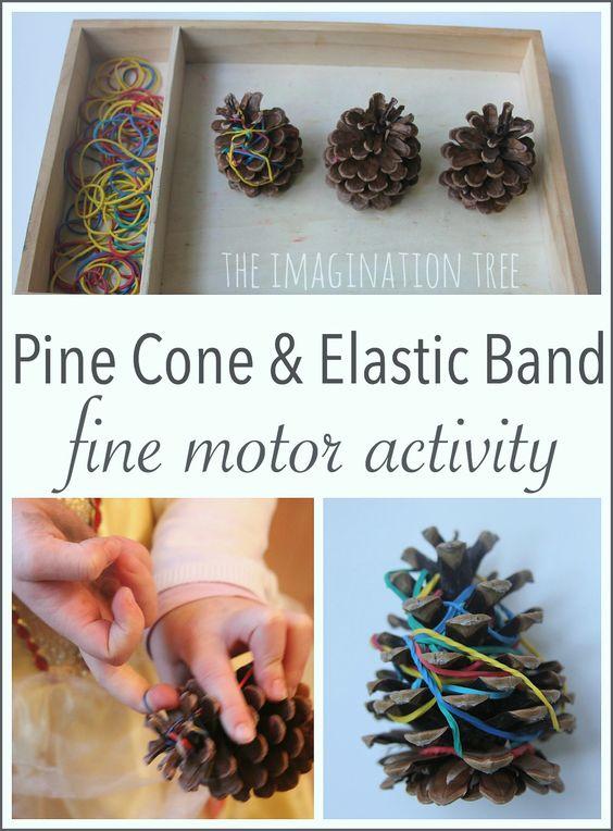 Fine motor skills activity for preschoolers using elastic bands and pine cones!
