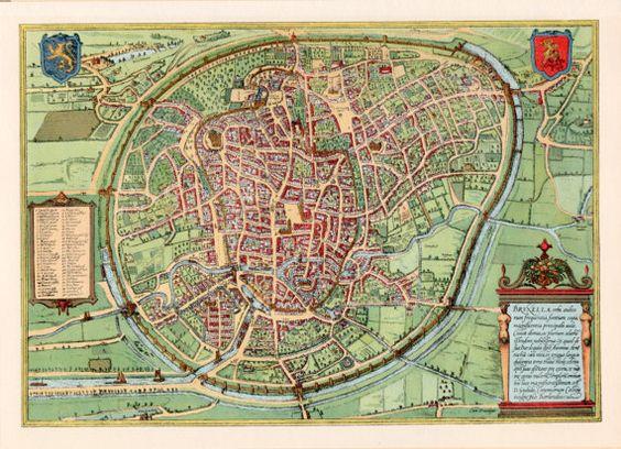 Brussels Map Print Belgium Birdseye View Illustration 1954 – Maps Brussel