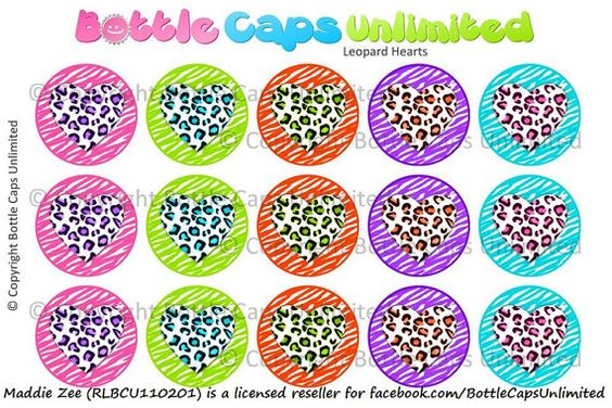 15 Leopard Hearts Download for 1 Bottle Caps 4x6 by MaddieZee, $1.50