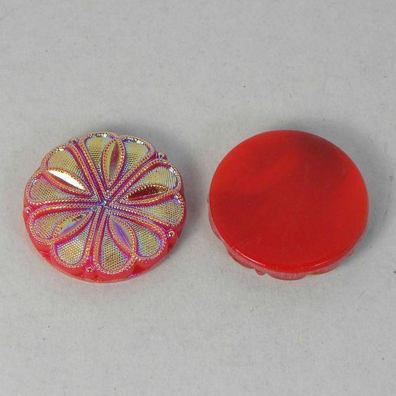 "ONE Vintage 1930s German Glass AB Red Textured Flower 26mm/1"" Round Cabochon  #ArtDeco"