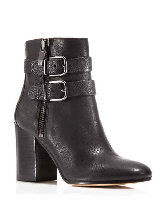 Via Spiga Briella Double Buckle High Heel Booties