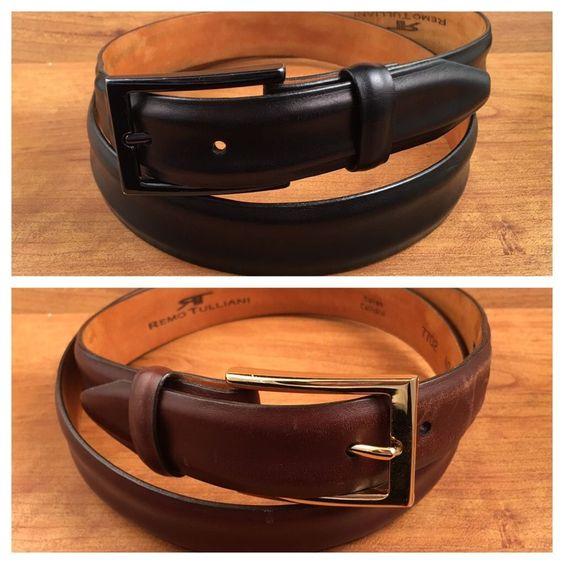 Leather Belts Size 40 Italian Calfskin Remo Tullani Lot of 2 Brown & Black #RemoTulliani #mensbelts