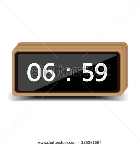 wood clock digital - stock vector