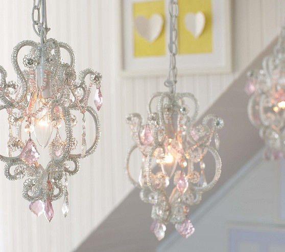 Chandeliers That Plug In: Pottery Barn Kids Gianna Mini Chandelier Plug In Pink Clear,Lighting
