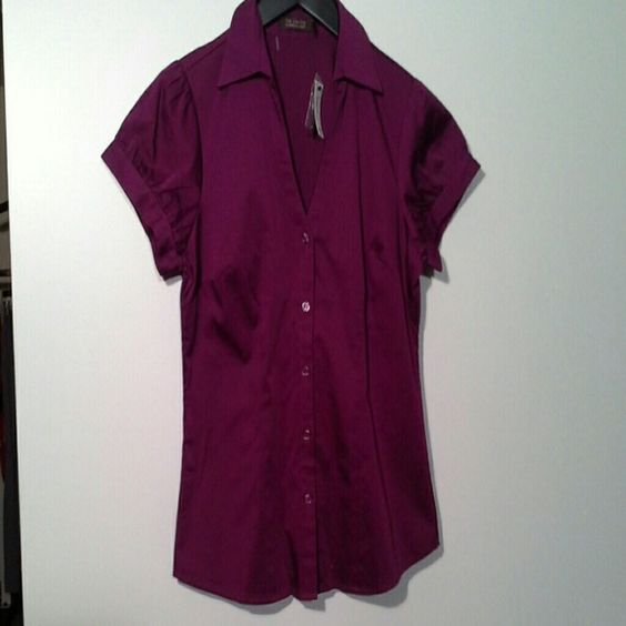 """NWT plum short sleeve button-up NWT size medium short sleeve button-up from The Limited, perfect for work! You can adjust how wide the sleeve opening is, comes with extra button. 23"""" shoulder to hem, 97% cotton, 3% spandex. The Limited Tops Button Down Shirts"""