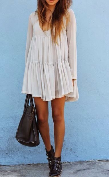 Hipster white dress and boots