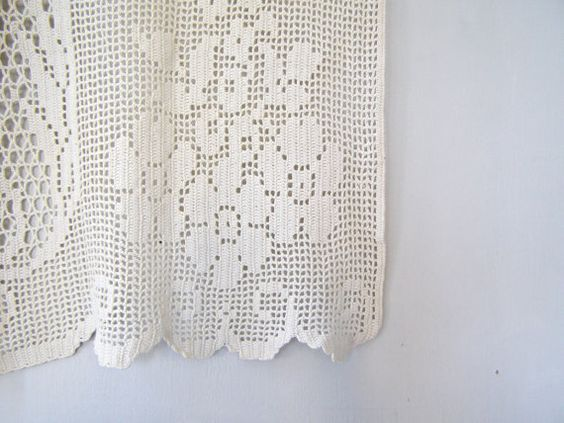 Crochet Valance Curtain Vintage French Cafe Curtain by MeshuMaSH ...