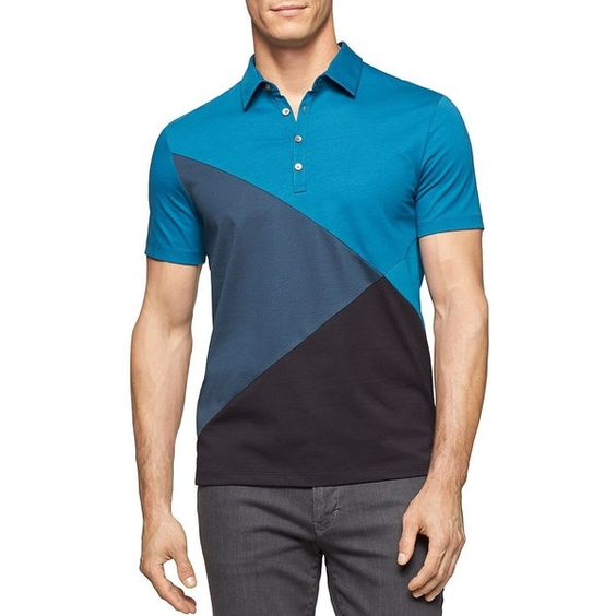 Calvin Klein Colorblocked Polo ($52) ❤ liked on Polyvore featuring men's fashion, men's clothing, men's shirts, men's polos и ink blue