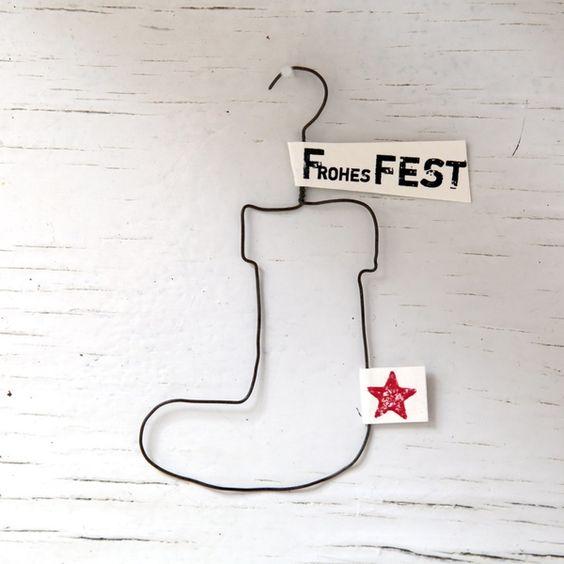 "X-Mas Draht-Ornament ""Stiefel Frohes Fest"""