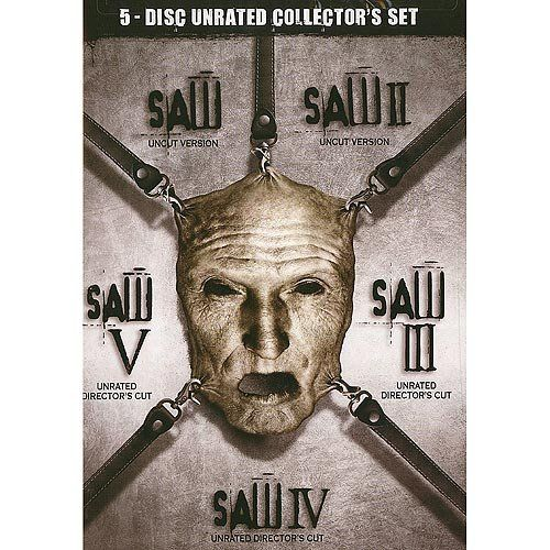 "Saw I - V Box Set (Unrated) (Widescreen) (00031398115571) This Collection includes ""Saw"", ""Saw II"", ""Saw III"", ""Saw IV"" and ""Saw V"". ""Saw"": Obsessed with teaching his victims the value of life, a deranged, sadistic serial killer abducts the morally wayward. Once captured, they must face impossible choices in a horrific game of survival. The victims must fight to win their lives back or die trying. ""Saw II"": Jigsaw is back. The brilliant, disturbed mastermind returns for another round of ..."