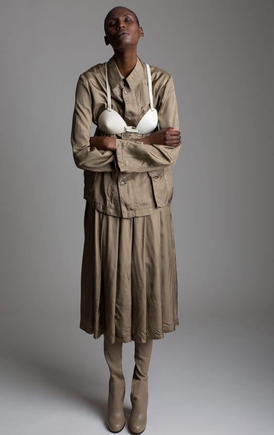 Comme Des Garcons Skirt Set Krizia Resin Bra Designer Vintage Fashion