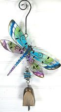Dragonfly Yard Ornament Decor with Bell, Metal w/Glass inserts