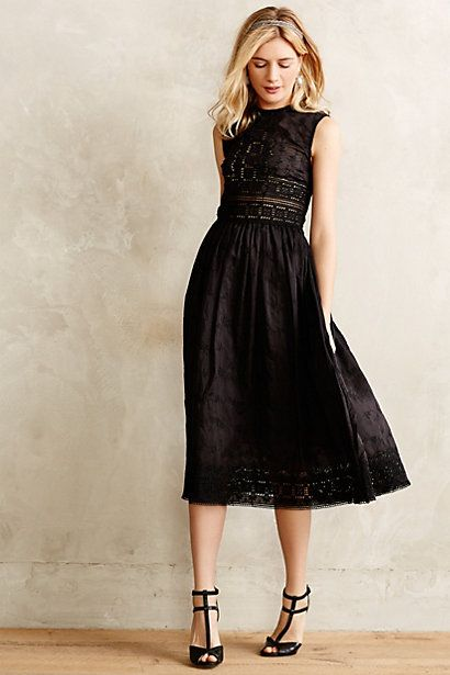 anthro black midi dress.: