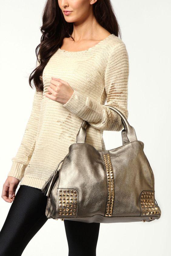 Katie Stud Corner Slouch Bag