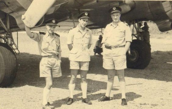 Cpt. Marcel SIRAUT (right side) and his crew - DC3 - Belgian Congo (ca.1947 - 1950). He deceased in the July 24 1951 crash at Gao (OO-CBA DC-3)  Copyright : Patricia Declercq.