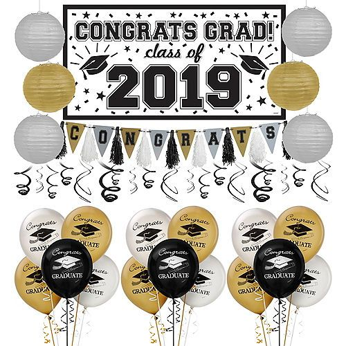 Black Gold Silver Graduation Decoration Party Kit Party City Graduation Decorations Party City Graduation Graduation Decorations