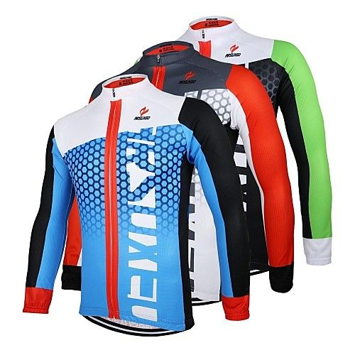 Mens Bicycle Shirts Long Sleeve Cycling Jersey Green MTB Clothing Top Breathable