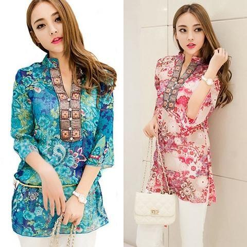 Baju Korea Lengan Panjang Chiffon
