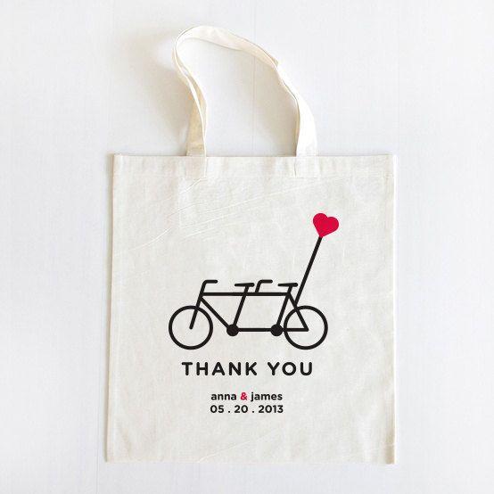 tandem bike wedding tote <3