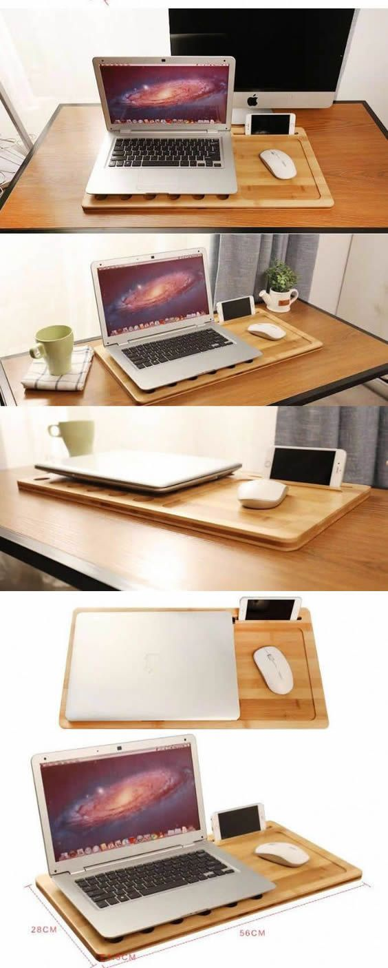 Bamboo Wooden Fun Creative Diy Desk Organizer Ideas To Make Your Desk Cute Bamboo Wooden Laptop Apple Mac Desk Organization Diy Lap Desk Cool Office Supplies